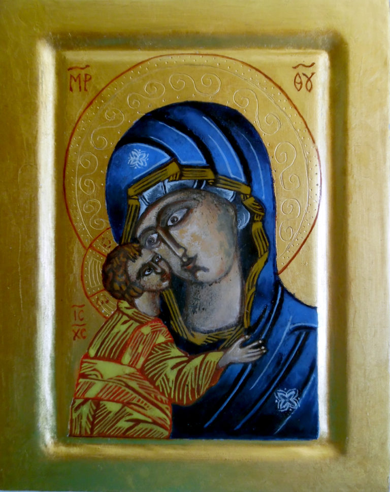 Chantal Dupont - Icone Vierge Marie - Artisan Artiste iconographe en Vendée